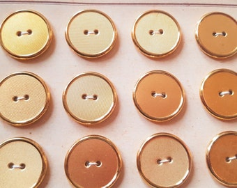 6 old gold x 20 mm metal buttons on cardboard card G153a