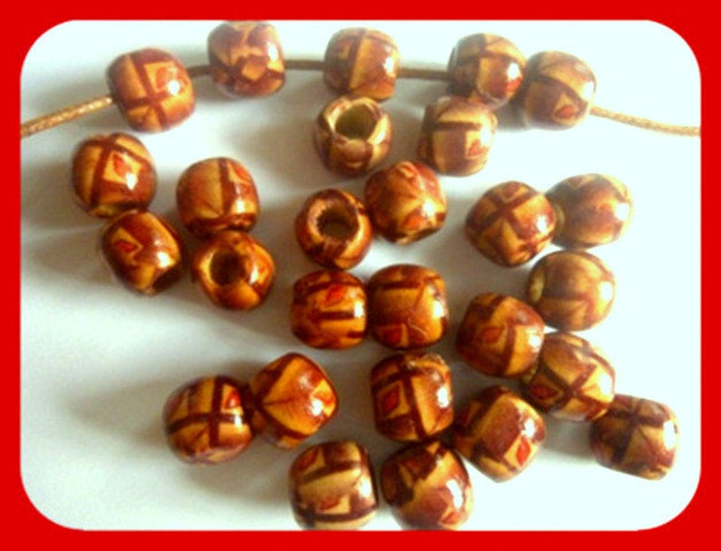 natural red wood beads Beads 10 x 11 mm Indian Beads Reduced 50