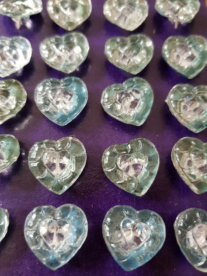 Choose turquoise or green clear old heart glass buttons 16 x 16 mm buttons