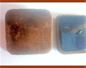 4 brown velvet 34 mm fabric buttons buttons square buttons
