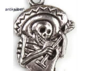 6 antique silver skeleton with hat 14 x 20 mm metal pendant pendant chain pendant xx
