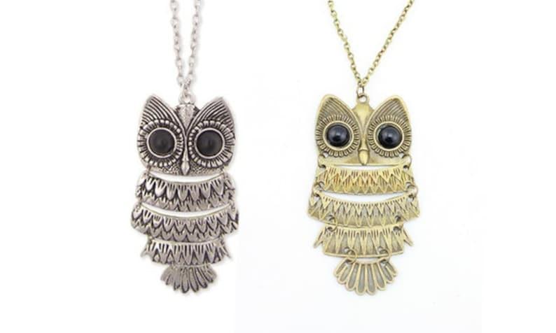 Antique silver or antique gold bronze owls statement chain necklace metal