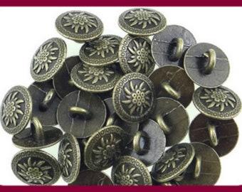 6-8 antique gold edelweiss x 15 mm traditional buttons bronze buttons metal buttons L1