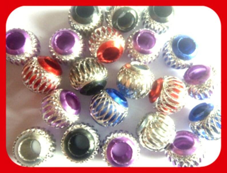 Wavia silver pink red blue black 8 x 10 mm metallic beaded metal beads