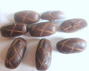 6-9 brown elongated leather look 14 x 36 mm buttons gag buttons