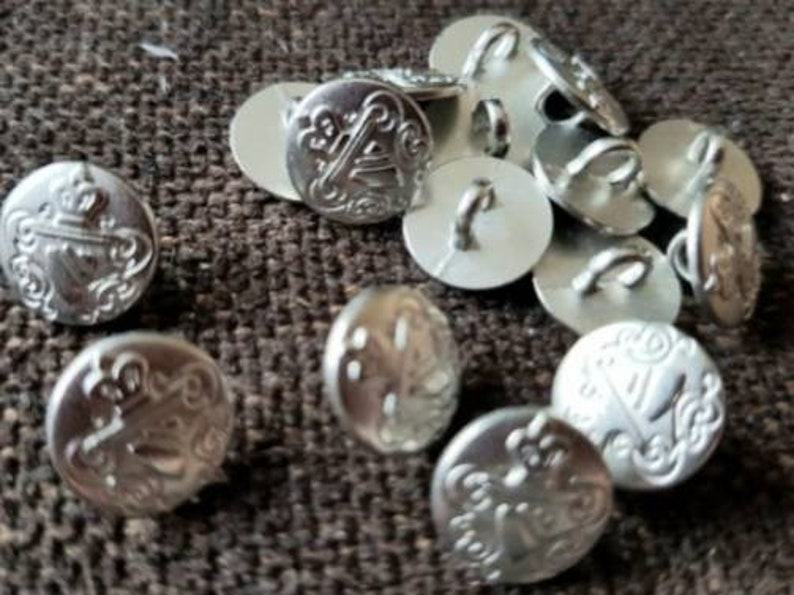 89 silver coat of arms buttons x 11 mm buttons metal buttons country house coat of arms
