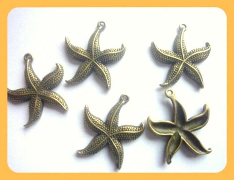 8 antique gold starfish ornamental parts patch bronze metal pendant