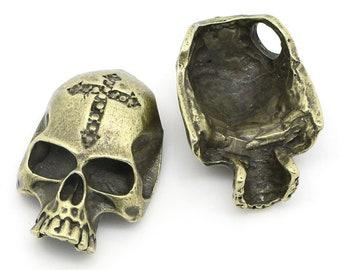 1 antique gold skull pendant pearl