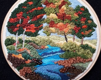 Autumn. Highly textured embroidery landscape embroidery embellished with beads & wool threads.A beautiful detailed Autumn art picture.
