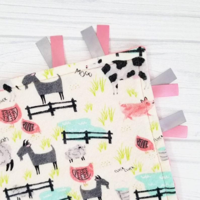 READY TO SHIP Farm animals baby lovey blanket Baby girl farm baby shower gift