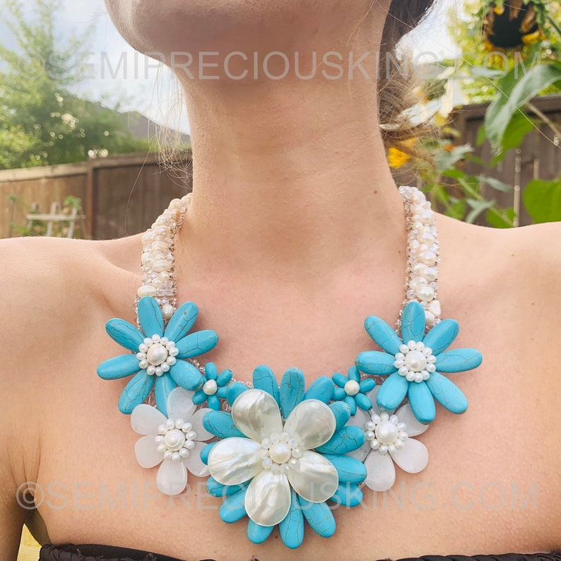SALE MOTHER SALE Tropical Turquoise Freshwater Pearls 20 Handcrafted Gemstone Beads Choker Bib Necklace