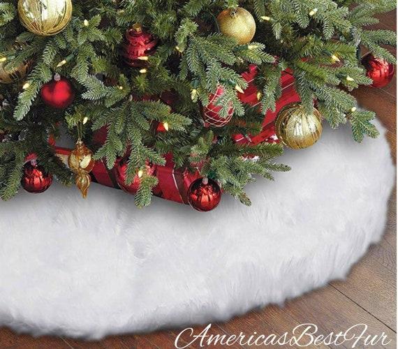 Faux Fur Snow White Christmas Tree Skirt Decoration 100 Inches Diameter Home Decor
