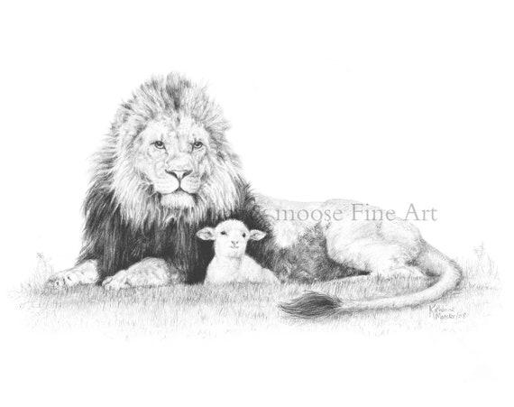 Lion Et Lagneau Dessin A Imprimer 8 X 10 Po Etsy