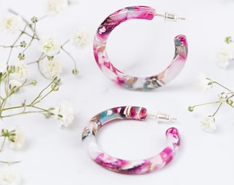 35mm Round Hoops in Water Lily | Acetate Resin Pink Floral Bouquet Hoop Earrings S925 Posts