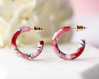 Ultra Mini Hoops in Cherry Blossom | Pink and Red Acetate Resin Hoop Earrings .999 Sterling Silver Posts