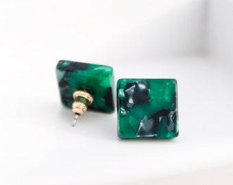 Square Studs in Emerald Tortoise| Tortoise Shell Acetate Statement Stud Earrings