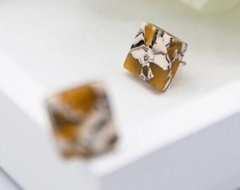 Square Studs in Sunflower| Tortoise Shell Acetate Stud Earrings