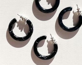 Ultra Mini Hoops in Black Pearl and Obsidian   Small Mini Black Hoop Earrings 925 Silver Posts