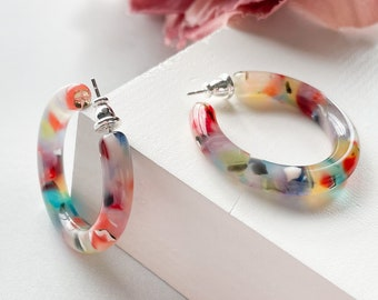 35mm Round Hoops in Rainbow| Statement Chunky Thick Colorful Confetti Acetate Resin Hoop Earrings 925 Sterling Silver Hoops