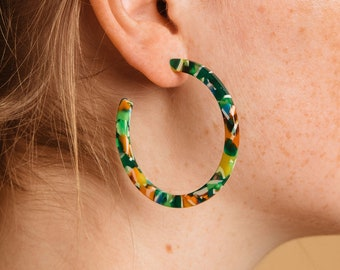 Sun Hoops in Tango Tortoise| Tortoise Shell Acetate Hoop Earrings