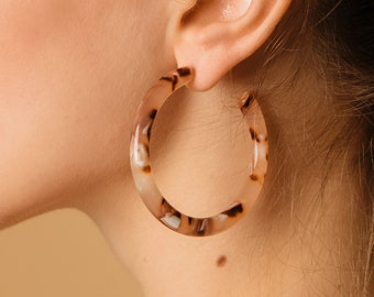 Lush Hoops in Rose| Tortoise Shell Hoops Acetate Hoop Earrings