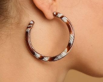 Lush Hoops in Serengeti| Acetate Hoop Earrings