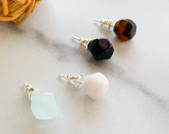 Kaleidoscope Studs In Tortoise, Shell, Black Pearl and White Jade Small Circle Sphere Ball Stud Earrings 925 Sterling Silver Posts