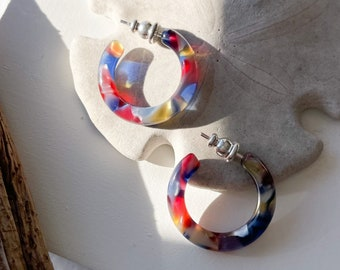 Ultra Mini Hoops in Stained Glass  Colorful Stained Glass Window Art Hoop Earrings Cellulose Acetate 925 Silver Posts