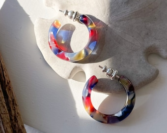 Ultra Mini Hoops in Stained Glass| Colorful Stained Glass Window Art Hoop Earrings Cellulose Acetate 925 Silver Posts