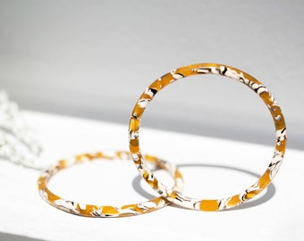 Luna Bangles in Sunflower| Yellow and Black Acetate Resin Tortoise Shell Statement Bangle Bracelets XS/S