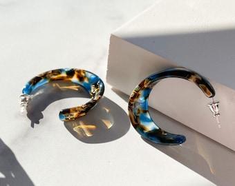 Illusion Hoops in Driftwood | Blue and Brown Ocean Acetate Resin Hoop Earrings 925 Sterling Silver Posts