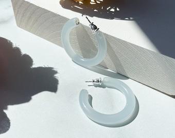 35mm Round Hoops in Mist | Light Blue Resin Acetate Hoop Earrings 925 Silver Posts