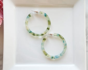 40mm Round Hoops in Dew Drop | Blue Green Gold Shell Hoop Earrings 925 Sterling Silver Posts
