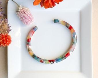 Fenna&Fei Bangle Cuff Tortoise Shell Acetate Stacking Bracelet| Resin Colorful Sizes XS-XL Women Men Gift