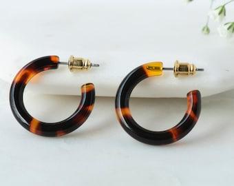 Ultra Mini Hoops in Amber| Dark Tortoise Shell Hoop Earrings | Small Resin Hoops S925 Silver Posts