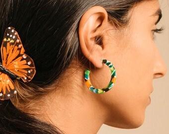Mini Sun Hoops in Tango Tortoise| Acetate Tortoise Shell Hoop Earrings