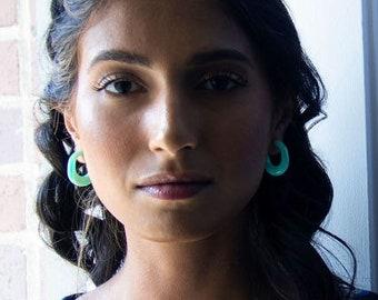 Juicy Hoops in Seafoam | Green Turquoise Acetate Resin Chunky Statement Hoop Earrings Sterling Silver Posts