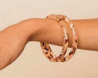 Lush Bangles in Rose Tortoise| Acetate Bangle Bracelets
