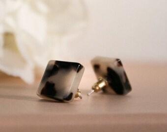 Square Studs in Ash Blonde| Tortoise Shell Acetate Stud Earrings