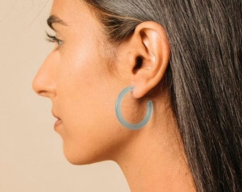 Mini Sun Hoops in Bahama Blue| Acetate Hoop Earrings