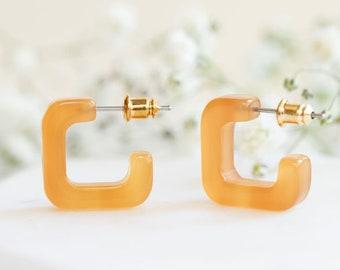 Mini Geo Hoops in Tangerine | Geometric Acetate Resin Hoop Earrings