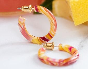 Ultra Mini Hoops in Pink Lemonade | Small Acetate Resin Hoop Earrings