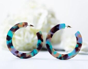 Grande Hoops in Jasmine Tortoise | Acetate Resin Tortoise Shell Statement Hoop Earrings S925 Posts