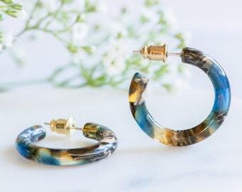Ultra Mini Hoops in Driftwood | Blue and Brown Acetate Resin Hoop Earrings S925 Silver Posts