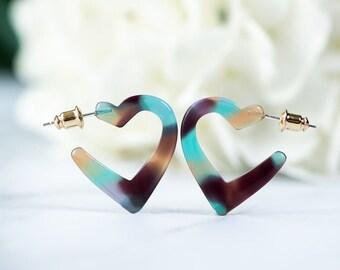 Mini Heart Hoops in Jasmine | Small Acetate Resin Cute Heart Hoops Earrings S925 Posts