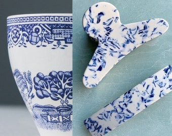French Claw Clip in Porcelain| Tortoise Blue and White Acetate Resin Hair Claw