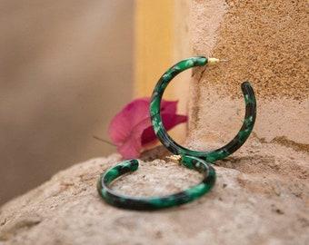 Lush Hoops in Emerald Tortoise| Acetate Tortoise Shell Green Resin Hoop Earrings