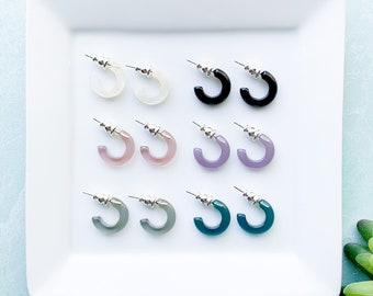 Huggie Hoops Small Clear Minimalist Cute Tiny Resin Hoop Earrings Acetate Tortoise Shell S925 Posts