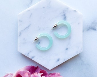 Ultra Mini Hoops in Jade | Small Jade Hoops Acetate Resin 925 Sterling Silver Posts Minimalist Gift For Her Dainty