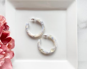 35mm Round Hoops in Ajiasai | Acetate Blue and White Floral Hydrangea Thick Chunky Hoop Earrings 925 Silver Hoops